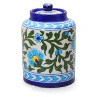 Jaipur Blue Pottery Handmade Jar 5 inches - white base with turquoise flower