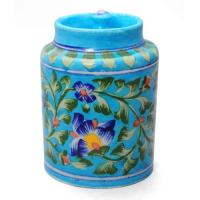 Jaipur Blue Pottery Handmade Jar 6 inches -Turquoise Base With Blue Flowers Motifs