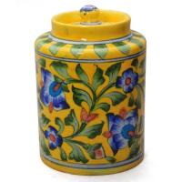 Jaipur Blue Pottery Handmade Jar 6 inches with lid  - Yellow base with Blue flower
