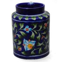 Jaipur Blue Pottery Handmade  Jar 6 inches - Blue Base with Turquoise Flower