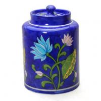 Jaipur Blue Pottery Handmade Jar 6 inches - Blue Base with Turquoise Lotus Flower