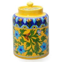 "Jaipur Blue Pottery Handmade Jar 6"" with lid - yellow base with blue flower"