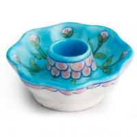 Jaipur Blue Pottery Handmade Candle Plate Mellon Shape 3 inches -Turquoise  Base  with Pink Flower