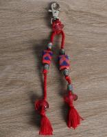 JAIPUR BLUE POTTERY HANDMADE BEAD BAG CHARM  IN RED WITH COTTON THREAD WORK