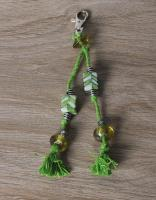 JAIPUR BLUE POTTERY HANDMADE BEAD BAG CHARM IN GREEN WITH COTTON THREAD WORK