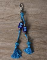 JAIPUR BLUE POTTERY HANDMADE BEAD BAG CHARM IN TURQUOISE/BLUE WITH COTTON THREAD WORK