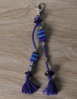 JAIPUR BLUE POTTERY HANDMADE BEAD BAG CHARM IN BLUE WITH COTTON THREAD WORK