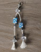 JAIPUR BLUE POTTERY HANDMADE BEAD BAG CHARM IN WHITE/TURQ. WITH COTTON THREAD WORK