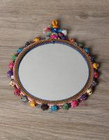 KALBELIYA HANDMADE MIRROR 6 INCHES WITH COTTON BALL WORK