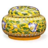 Jaipur Blue Pottery Handmade Rose Bowl Jar 7 inches - yellow Base with blue flowers