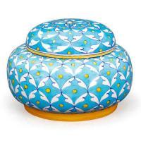 Jaipur Blue pottery Handmade Jar with lid 7 inches - Turquoise Base Geometric design with Yellow dots
