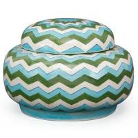 Jaipur Blue Pottery handmade Rose Bowl Jar 7 inches - Zig Zag Design with Turquoise,Green and White