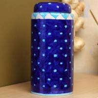 Jaipur Blue Pottery Handmade Jar with lid 9 inches - Blue Base with Turquoise  Dots