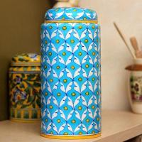 Jaipur Blue Pottery Handmade Jar with lid 9 inches - Turquoise Base 48 Geometric Design with yellow dots