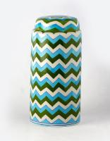 Jaipur Blue Pottery handmade Jar 9 inches with lid - Zig Zag Design with white,green & Turquoise colours