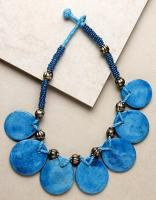 7 BUTTON NECKLACE TURQUOISE