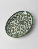Lime green leaf on White Base oval plate