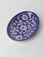 White Leaf on Blue Base Oval Plate