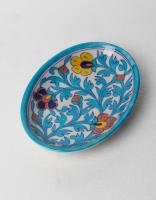 Turquoise leaf and yellow,brown and Blue Flowers on White Base Oval Plate