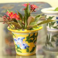 Yellow Floral Design 3 inch Planter