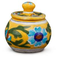 Jaipur Blue Pottery Handmade  Sugar Pot - Yellow base with Turquoise/Blue Flower