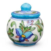 aipur Blue Pottery Sugar Pot  - White Base with Blue Turquoise flower