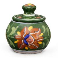Jaipur Blue Pottery Handmade sugar Pot - Green Base with Brown Flower
