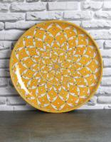 Jaipur Blue Pottery Handmade Wall Plate 12 inches  with Yellow Geometric  design