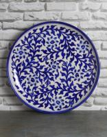 Jaipur Blue Pottery Handmade wall plate 12 inches with White base and blue flowers