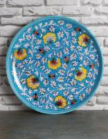Jaipur Blue Pottery Handmade Wall Plate 12 inches - Yellow Zenia Flowers on Turquoise Base