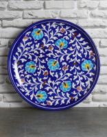 JAIPUR BLUE POTTERY HANDMADE WALL PLATE 12 INCHES - BLUE BASE WITH TURQUOISE FLOWER