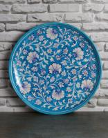 Jaipur Blue Pottery Handmade Wall Plate 12 inches with Turquoise Base and white zenia flowers