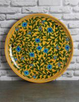 Jaipur Blue Pottery Handmade Wall Plate 12 inches - Yellow Base with Turquoise flowers