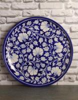 Jaipur Blue Pottery Handmade  Wall Plate 12 inches - Blue Base with White Zenia Flowers