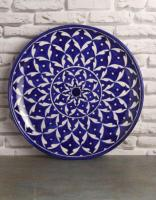 Jaipur Blue Pottery Handmade Wall Plate 12 inches -  Blue and White Geometric Design