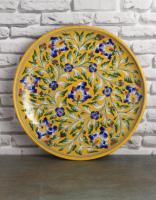 Jaipur Blue pottery Handcrafted Wall Plate 12 inches with Yellow Base and Blue Flowers