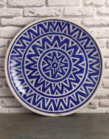 Jaipur Blue Pottery Handmade Wall Plate 12 inches with Blue and White Zig Zag Design