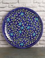 Jaipur Blue Pottery Handmade Wall Plate 12 inches with Blue Base and Turquoise Flowers