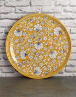 Jaipur Blue Pottery Handmade  Wall Plate 12 inches with Yellow base and White Zenia Flowers