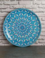 Jaipur Blue Pottery Handmade Wall Plate 12 inches - Turquoise Geometric Design