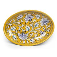 White Flowers and White Leaves on Yellow Base Oval Plate 8""