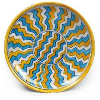 Yellow, Turquoise and White Zig-Zag Plate 6""