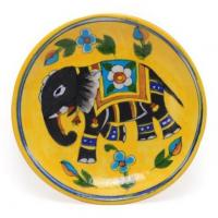 Handmade Jaipur Blue pottery Elephant design Plate 6 inches