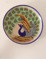 Jaipur Blue Pottery Handmade  Wall  Plate 12 inches with traditional Peacock design