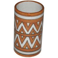 Brown and White Zig-Zag design cylinder 4 inches